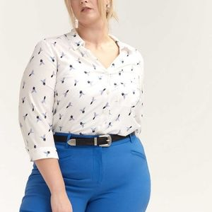 Printed Blouse with Criss-Cross at Back